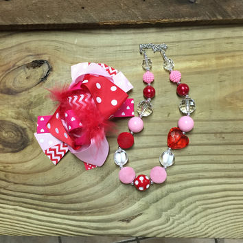 Valentine Hair Bow & Necklace