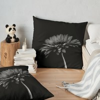 'Daisy gerbera. Black and white ' Floor Pillow by VanGalt