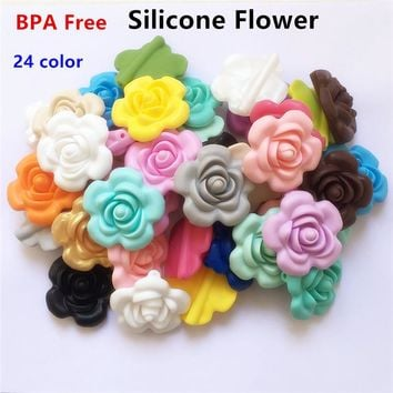 50pcs BPA Free Silicone Flower Pendant Teether Beads DIY Handmade Baby Pacifier Dummy Teething Chew toy necklace jewelry