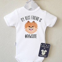 Dog Baby Shirt. Baby Boy Or Baby Girl Romper With Cute Pomeranian Print. Dog Baby Clothes. Baby Shower Gift. Dog Baby Announcement.