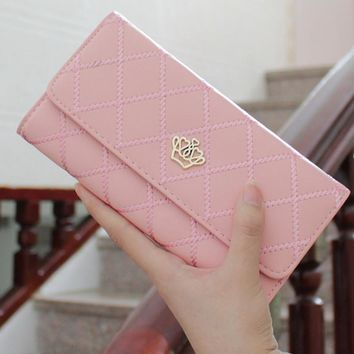2017 Crown Plaid Long Leather Three Fold Women Wallet Luxury Brand Designer Female Purse For ID Card Holder Phone Bag Day Clutch