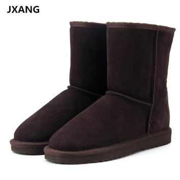 JXANG High Quality Genuine Cowhide Leather Australia Classic snow boots Women Boots Warm winter shoes for women large size