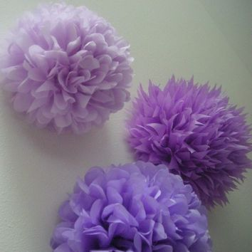 Lavender Love ... 3 tissue paper poms // birthday // nursery decoration // wedding reception // party decorations