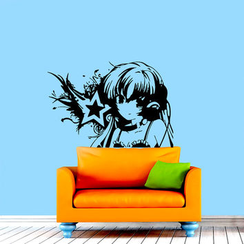 Wall Decals Vinyl Decal Sticker Home Decor Art Mural Anime  Girl Japanese Music DJ Headphones Bedroom Dorm  Chu1214