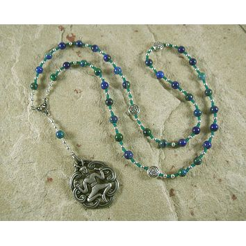 Cernunnos Prayer Bead Necklace in Lapis/Chrysocolla: Gaulish Celtic God of Nature and Beasts