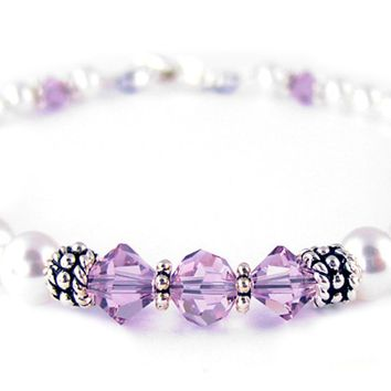 Freshwater Pearl Jewerly: Real Pearl Bracelets Simulated Purple Alexandrite in Swarovski Crystal Birthstone Colors