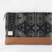 Padded Laptop Sleeve/Case for MacBook, iPad, MS Surface, or Custom Size in Gray, Black, Brown, with Faux Leather Bottom