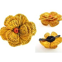Fair Trade Yellow Flower Hair Clip