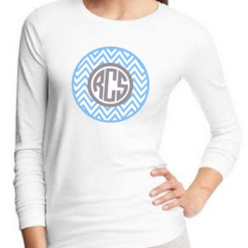 Popular 2 Color Chevron and Circle Monogram Women's, Men's or Kids Long Sleeved Crew Neck T-Shirt Personalized