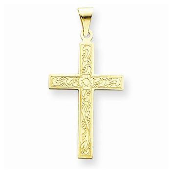 14k Gold Floral Cross pendant