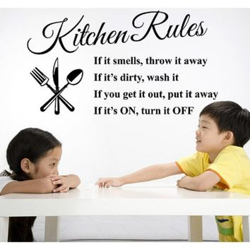 Lettering Art Quote Kitchen Rules Kitchen Vinyl Wall Sticker