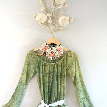 Summer lace shirt, boho chic, vintage grass green, romantic shabby smock top, country chic, women's clothing, true rebel clothing