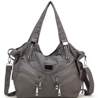 Scarleton Front Zippers Washed Shoulder Bag H1476