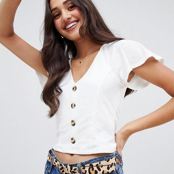 Miss Selfridge button through frill sleeve top in white at asos.com