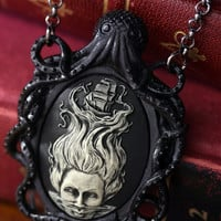 Cameo Necklace. Black Octopus Oval Cameo Lady of the sea, Victorian Vintage Inspired, Valentines Gift