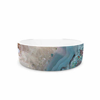 "Sylvia Cook ""Quartz Waves"" Blue Brown Pet Bowl"