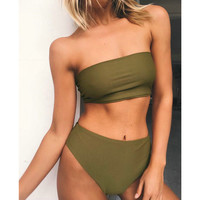 2017 Summer New Arrival Women Strapless two pieces Suits Crop Top and Shorts Bikinis Beach wear maillot de bain
