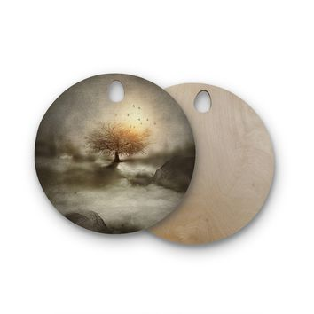 "Viviana Gonzalez ""Lone Tree Love IV"" Brown Nature Round Wooden Cutting Board"