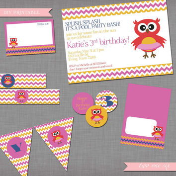 Girl/Boy Pool Party Owl Birthday Party Package - Party Favors, Invitation, Birthday Pendant Banner - DIY Printable Party Package