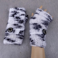 knitted fingerless gloves, knit white winter gloves, mint white black arm warmers, knitting mittens, women accessories, clothing