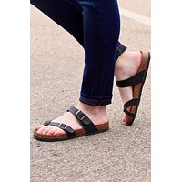 Toe Strap Bork Slide On Sandals Leather Look {Black}