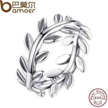 CREYCI7 BAMOER 2017 New Collection Authentic Laurel Wreath Laurel Leaves Ring 100% Fine 925 Sterling Silver Jewelry PA7156
