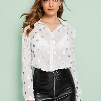 Polka Dot Frill Sheer Blouse