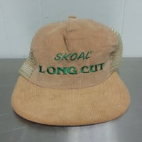 Retro Skoal Long Cut Chewing Tobacco Vintage Trucker Snapback Hat Corduroy and Mesh Dad Hat