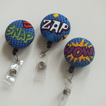 ID Badge Holder Retractable in Comic Strip - Snap, Teacher Badge, Badge Reel, Nurse ID Badge Reel, Badge Holder, Ready to Ship