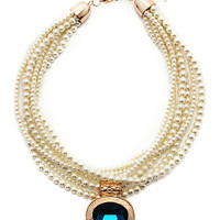 Passion For Pearls Necklace in Blue – bandbcouture.com