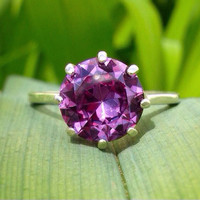 10mm Alexandrite Basket-set Sterling Silver Ring