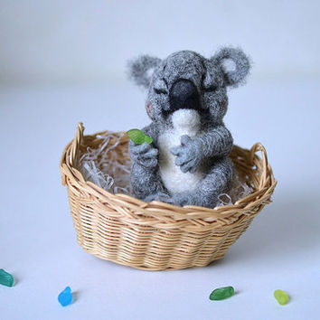 Needle felted little sleeping koala. Tiny toy. Funny bear.