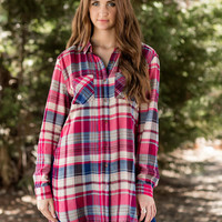 Honey I'm Good Plaid Tunic-Fuchsia