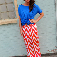 Red + White Chevron Maxi Skirt