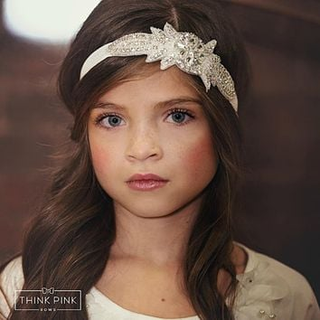 New Flower Girl Rhinestone Headband for Hair Accessories kids Christening Baptism Headband girl Bling Headband 1pc