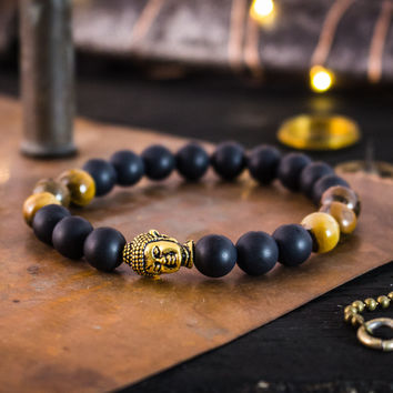Matte black onyx & tiger eye stone beaded stretchy bracelet with gold Buddha, made to order yoga bracelet, mens bracelet, womens bracelet
