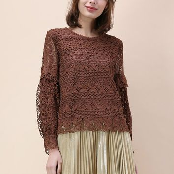 Word of Crochet Top in Coffee Brown