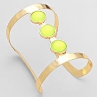 Tunnel Cabochon Cuff Bracelet Yellow Gold