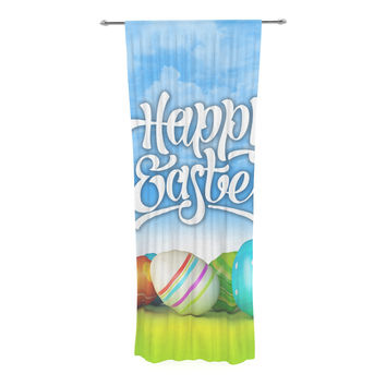 "KESS Original ""Happy Easter II"" Springtime Decorative Sheer Curtain"