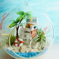 "LifeGuard Beach Terrarium ~ Beach Umbrella and Blue Beach Chair ~ 2 Air plants ~ 7"" Glass Globe ~ Palm Tree ~ Beach Decor ~ Great Gift Idea"