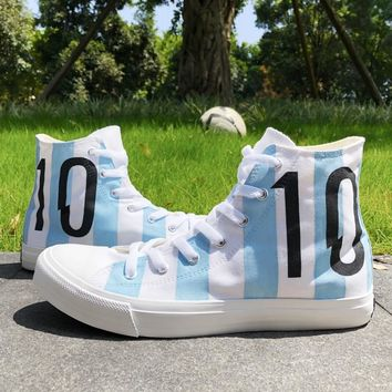 Wen Design Canvas Shoes Soccer Number 10 Argentina Football National Team Hand Painted Shoes Sports Sneakers for Men Women