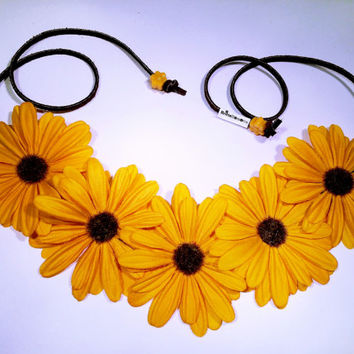 Yellow Daisy Flower Headband, Flower Crown, Flower Halo, Festival Wear, EDC, Ultra Music Festival, Rave