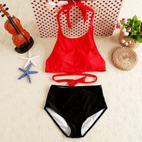 2017 Bikinis Women Swimwear High Waist Swimsuit Red Sexy Swimwear Push Up Crop Top High Neck Bikini Set Retro Bathing Suit Swim -03021