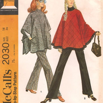 McCall's 2030 Sewing Pattern 60s 70s Retro Fashion Poncho Cape Pullover Top Boho Hippie Style Straight Leg Pants Bust 36