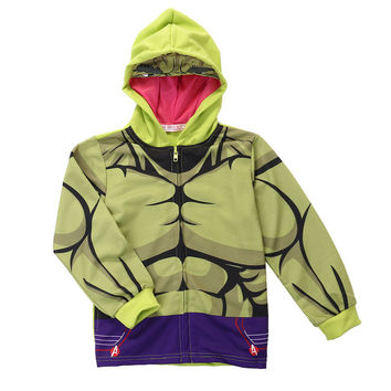 Hot Kids Superhero Hulk Hoodie Boys Hooded Jacket Jumper Sweatshirt Children's coat