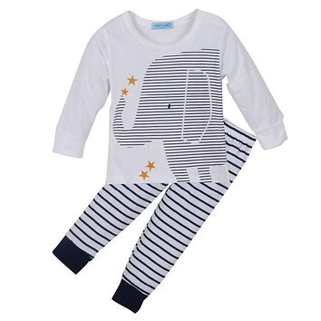 Bear Leader clothing set autumn baby boy clothes cartoon baby clothing baby elephant Long sleeve Tops + Stripe Pants clothes set