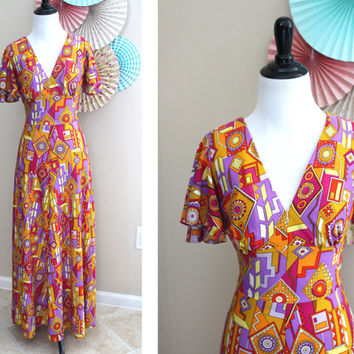 Vintage 1970's Pucci-Inspired Jack Hartley Resort Maxi Dress + SMALL
