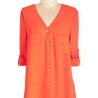 ModCloth Neon Mid-length 3 Glow for Takeoff Top