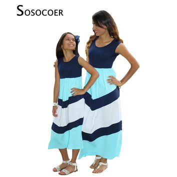 SOSOCOER Matching Mother Daughter Dresses Sleeveless Striped Mother Daughter Summer Dress Clothes Mom And Daughter Family Look