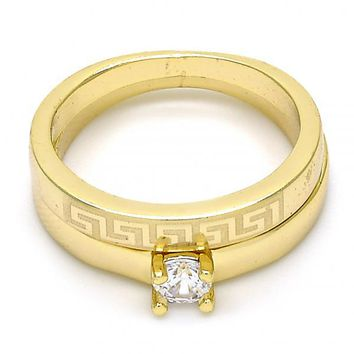 Gold Layered Wedding Ring, Greek Key and Duo Design, with Cubic Zirconia, Gold Tone